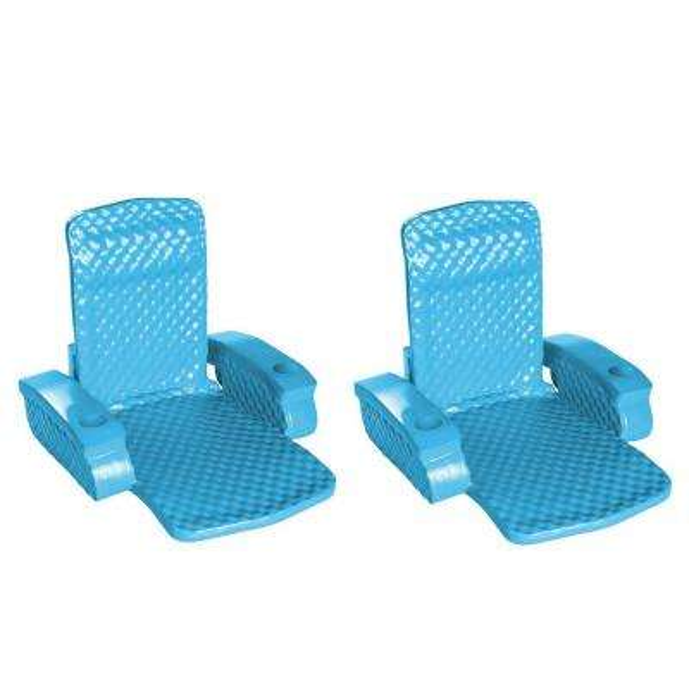 Blue Super Soft Swimming Pool Folding Chair Foam Lounge Float (2-Pack)
