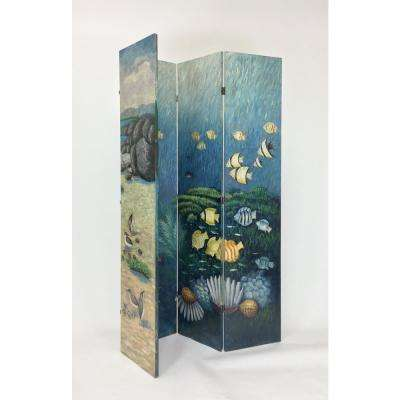 Blue Hand Painted Double Side Screen