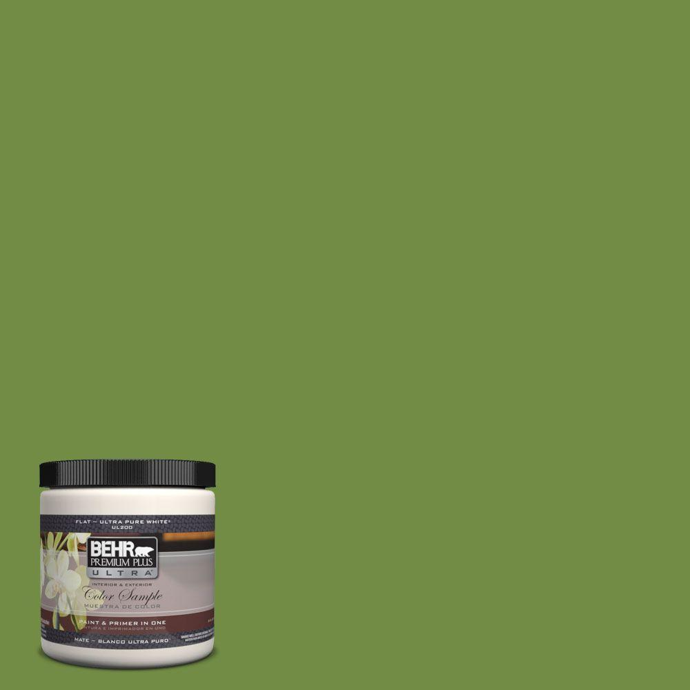 BEHR Premium Plus Ultra 8 oz. #420D-6 Thyme Green Matte Interior/Exterior Paint and Primer in One Sample
