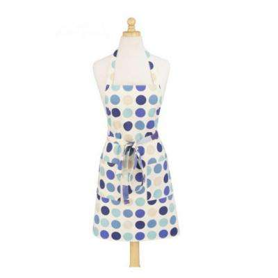 Dotted Blue Modern Print Cotton Butcher's Apron