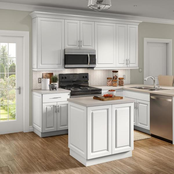 Hampton Bay Benton Assembled 36x36x12 5 In Wall Cabinet In White Bt3636w Wh The Home Depot