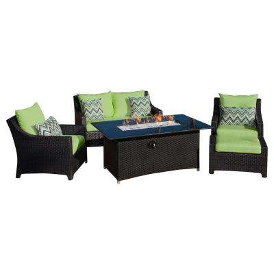Deco 5-Piece Love and Club Patio Fire Pit Seating Set with Ginkgo Green Cushions