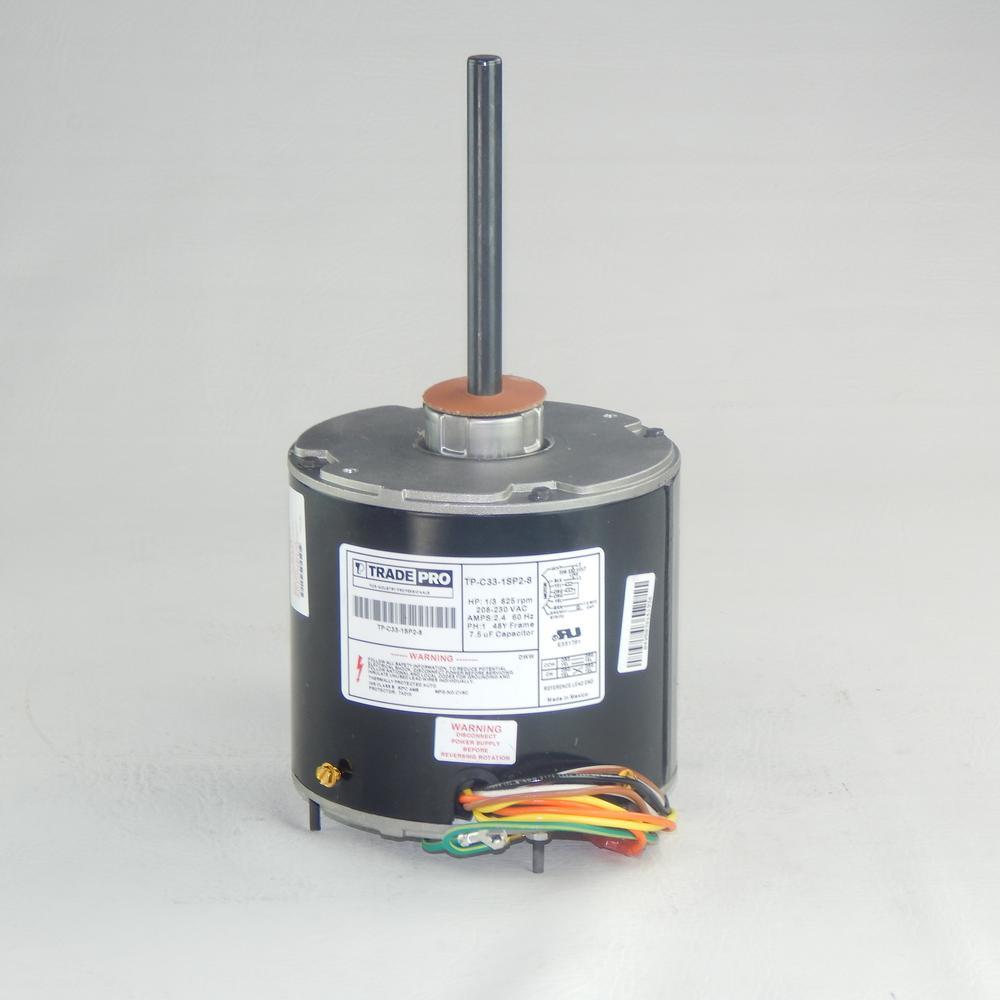 Replacement Condenser Fan Motor 1/3 Multi-Horsepower 825 RPM 230-Volt