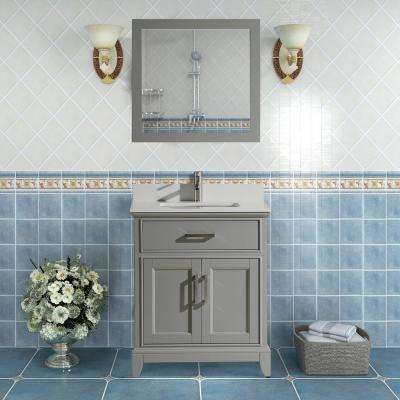 Genoa 24 in. W x 22 in. D x 36 in. H Bath Vanity in Grey with Vanity Top in White with White Basin and Mirror