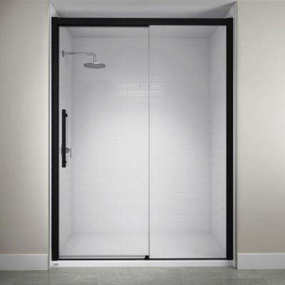 60 in. x 76 in. Semi-Frameless Concealed Sliding Shower Door in Matte Black
