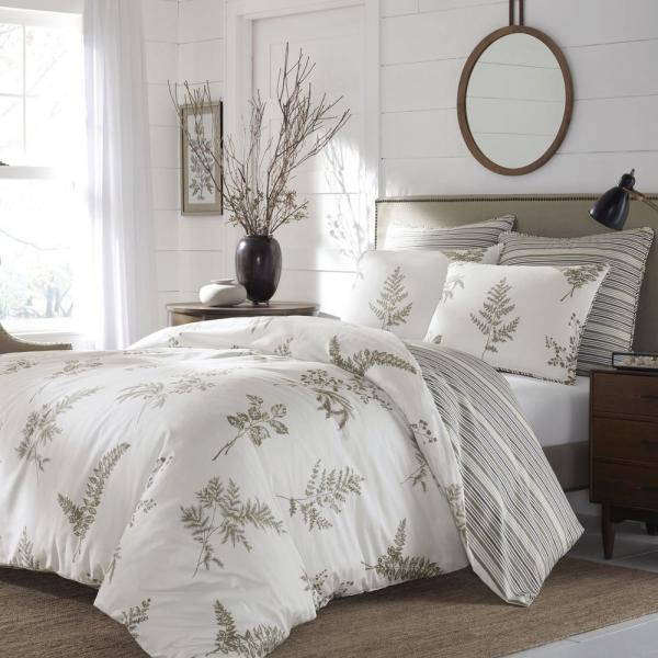 Willow 3-Piece Taupe/Cream Floral Cotton Full/Queen Comforter Set