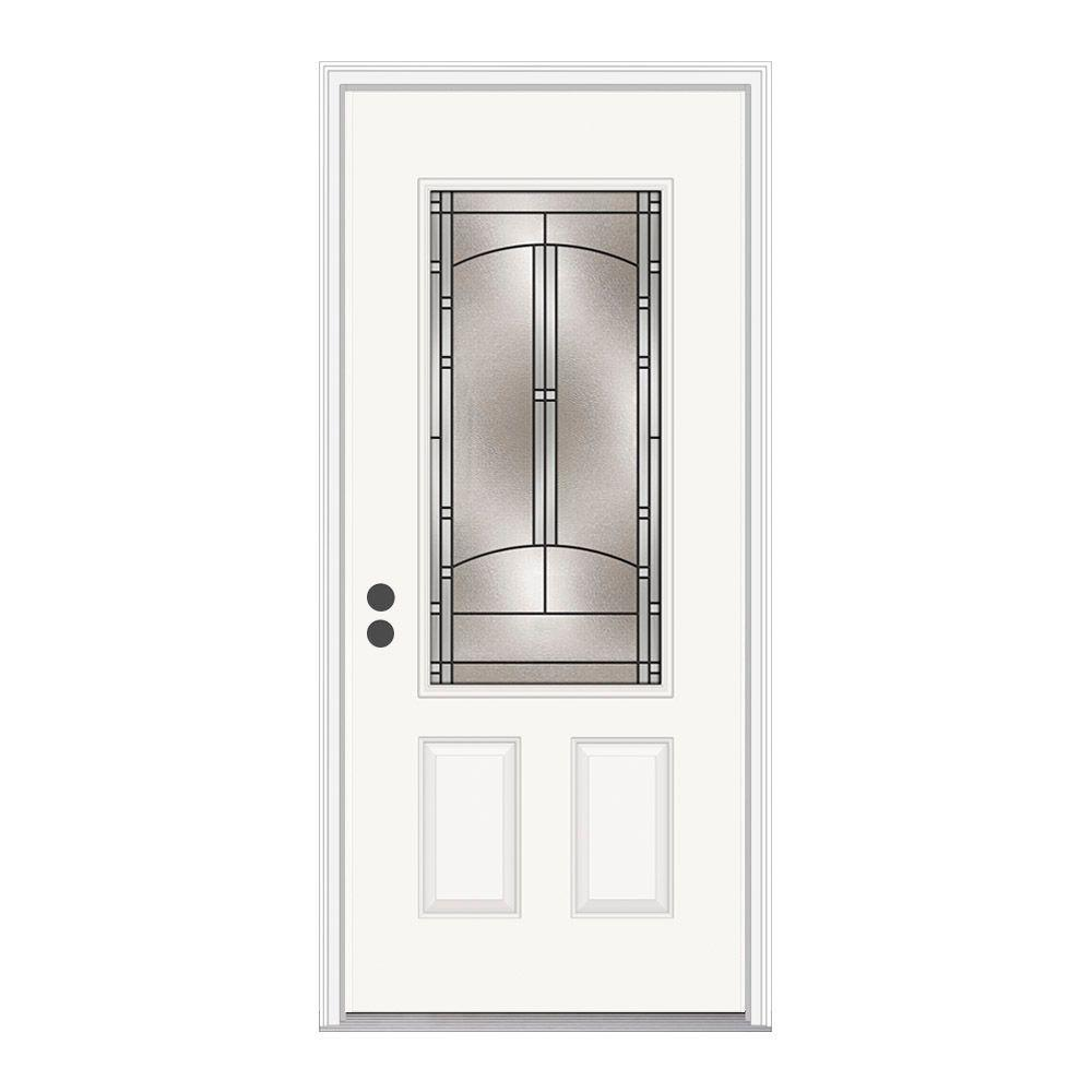 JELD-WEN 36 in. x 80 in. 3/4 Lite Idlewild Primed Steel Prehung Right-Hand Inswing Front Door w/Brickmould
