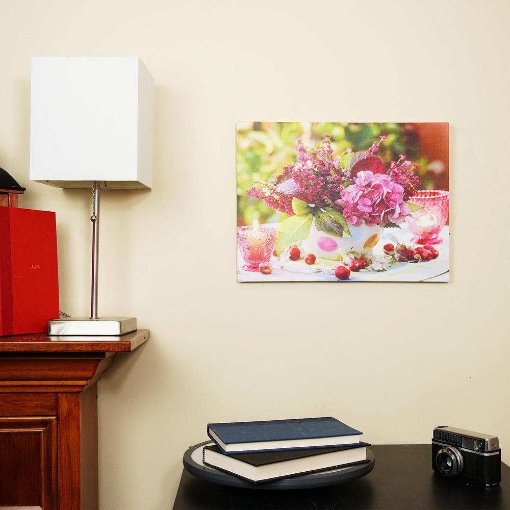 Northlight 11 75 In X 15 75 In Led Lighted Candles And Pink Floral Arrangement Canvas Wall Art 32039273 The Home Depot