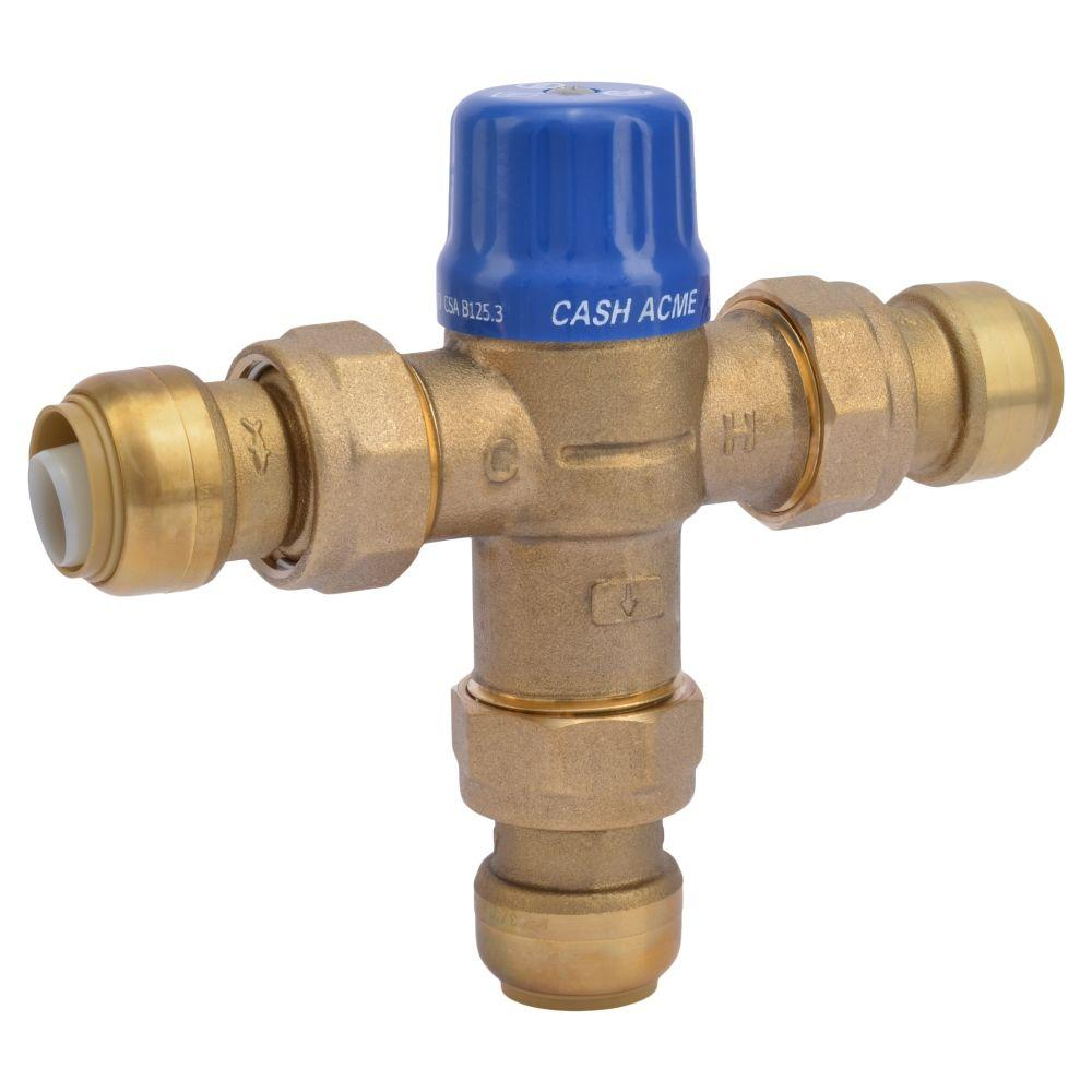 SharkBite 3/4 in. Brass Heat Guard 110-D Thermostatic Mixing Valve ...