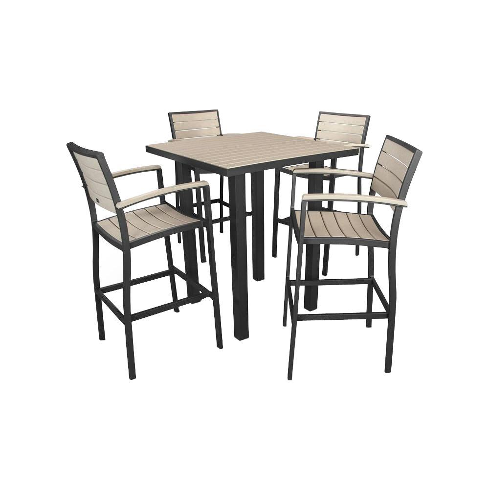 POLYWOOD Euro Textured Black/Sand 5-Piece Patio Bar Set
