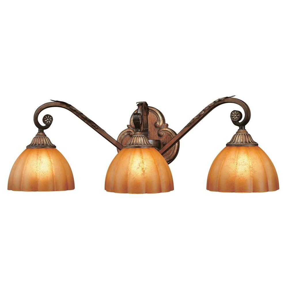 H&ton Bay Chateau Deville 3-Light Walnut Vanity Light with Ch&agne Glass Shades-25066 - The Home Depot  sc 1 st  The Home Depot & Hampton Bay Chateau Deville 3-Light Walnut Vanity Light with ... azcodes.com