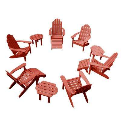 Classic Wesport Rustic Red 12-Piece Plastic Patio Fire Pit Seating Set