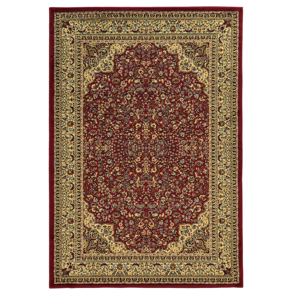 Linon Home Decor Elegance Isphahan Red 2 Ft. X 3 Ft. Area Rug