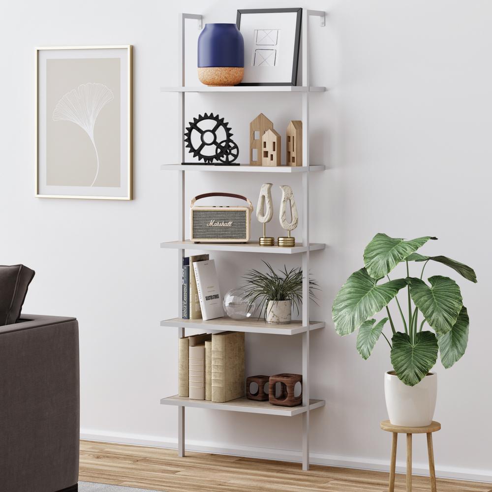 Theo Gray Oak 5-Shelf Ladder Bookcase or Bookshelf with White Metal Frame