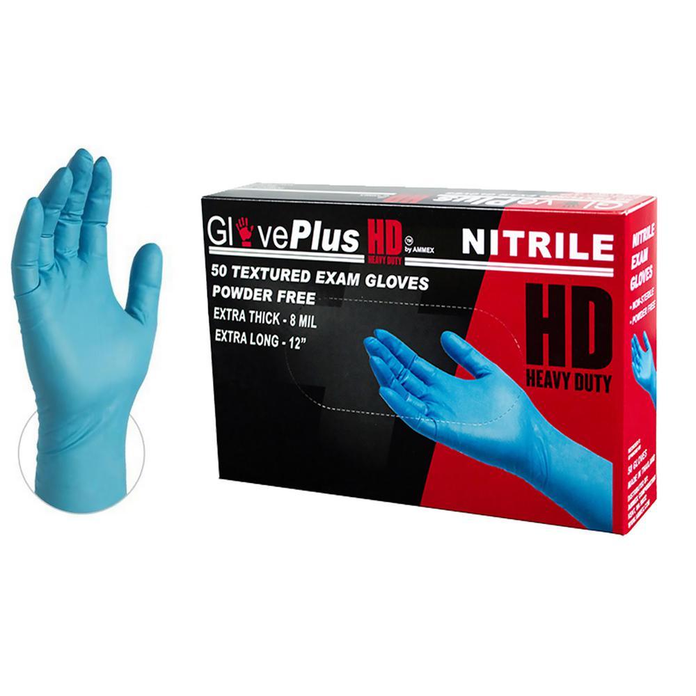 Large 8 mm GlovePlus Blue Heavy Duty Nitrile Exam Powder Free Disposable Gloves (50-Box)