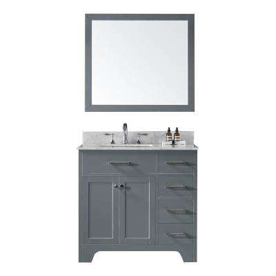 36 in. D Single Sink Bathroom Vanity in Cashmere Grey with Vanity Top in Carrara White Marble and Mirror Set