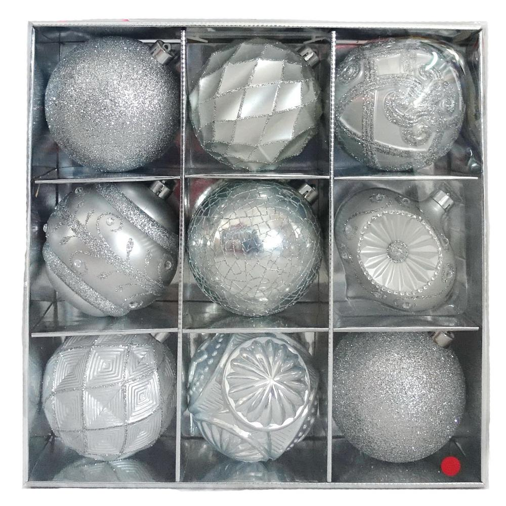 Home Accents Holiday 130 mm Sliver Ornament Set (9-Count)