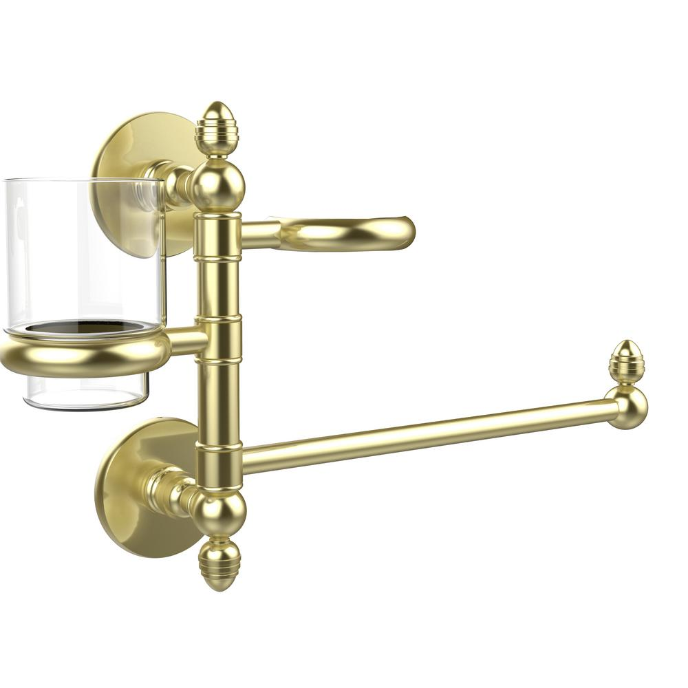Prestige Skyline Collection Hair Dryer Holder and Organizer in Satin Brass