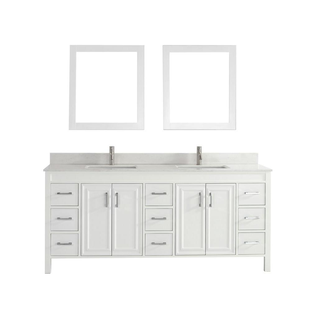 Studio Bathe Dawlish 75 in. Vanity in White with Solid Surface Marble Vanity Top in White and Mirror