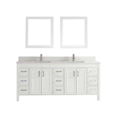 Dawlish 75 in. Vanity in White with Solid Surface Marble Vanity Top in White and Mirror