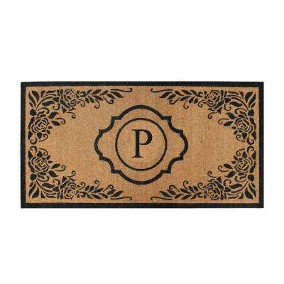 First Impression Hand Crafted Ella Entry X-Large Double Black/Beige 36 in. x 72 in. Coir Monogrammed P Door Mat