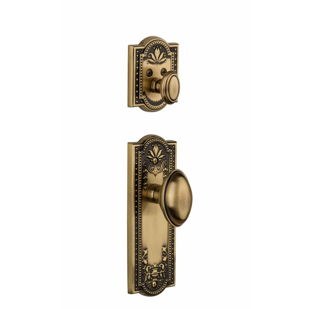 Grandeur Parthenon Single Cylinder Vintage Brass Combo Pack Keyed Alike with Eden Prairie Knob and Matching Deadbolt