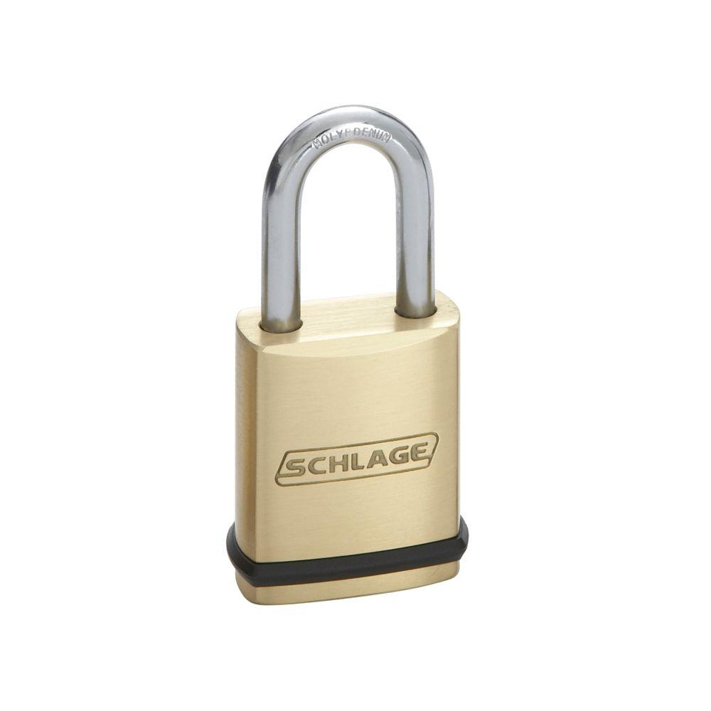Schlage 1-1/2 in. x 5/16 in. Shackle Commercial Brass Padlock
