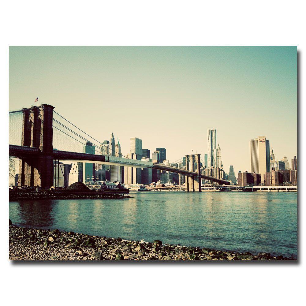 Trademark Fine Art 16 in. x 24 in. Brooklyn Bridge 2 Canvas Art