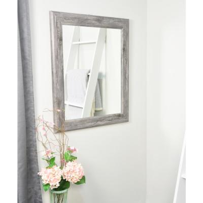 Weathered 33 in. W x 39 in. H Framed Rectangular Bathroom Vanity Mirror in Weathered Gray