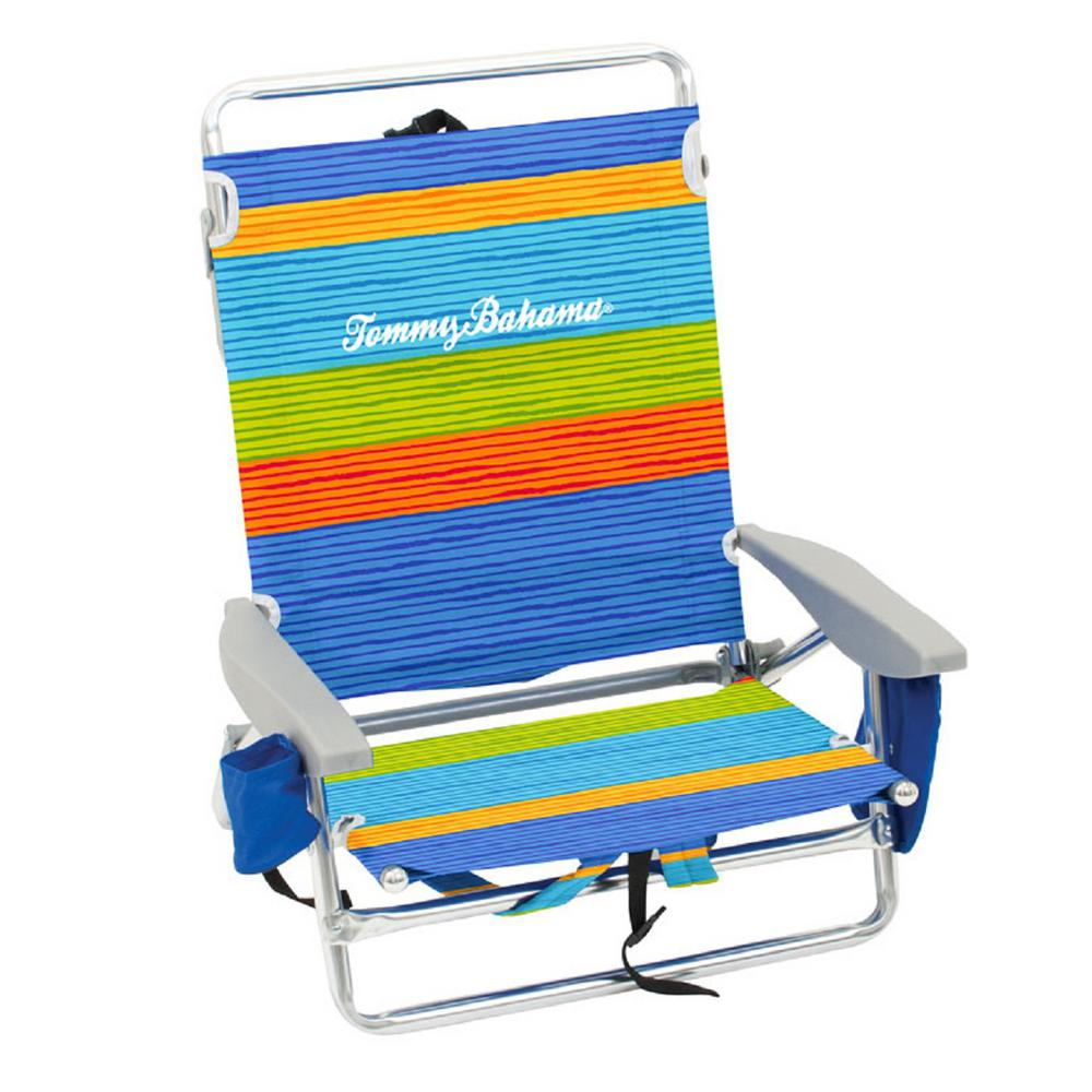 Tommy Bahama Striped Aluminum And Fabric 5 Position Lay Flat Backpack Beach Chair