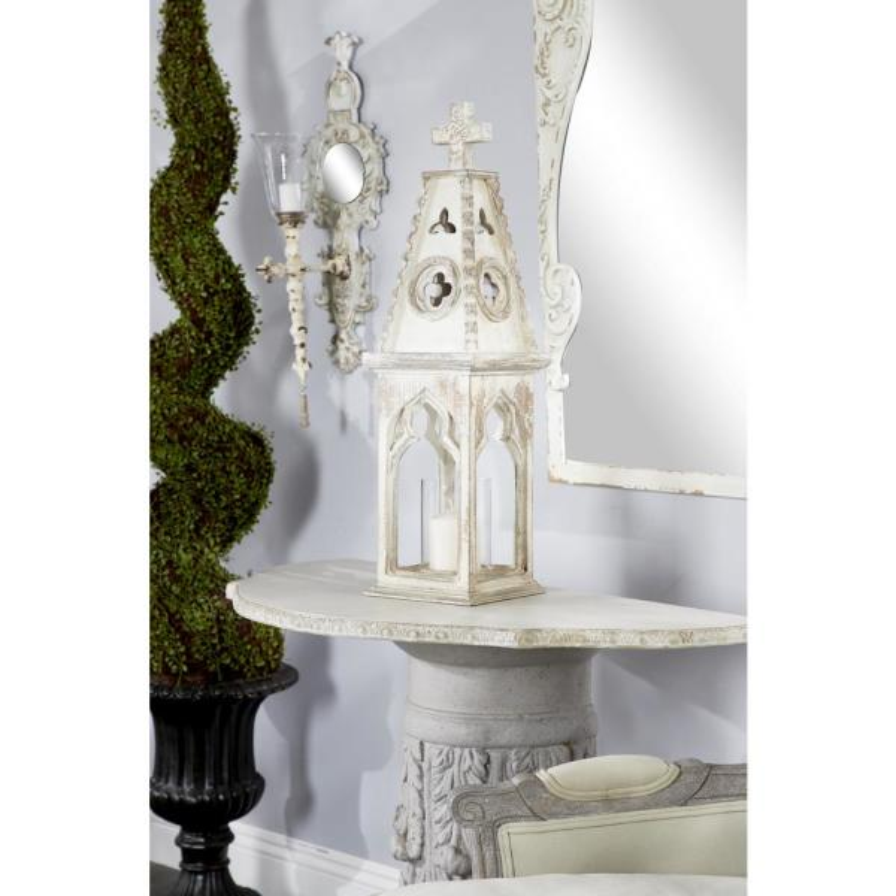 Litton Lane Antique White Freestanding Candle Lantern