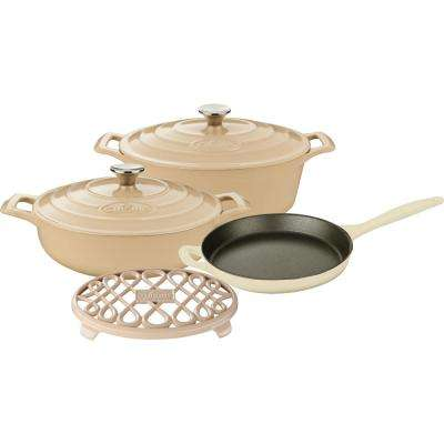 PRO 6-Piece Enameled Cast Iron Cookware Set with Saute, Skillet and Oval Casserole with Trivet in Cream