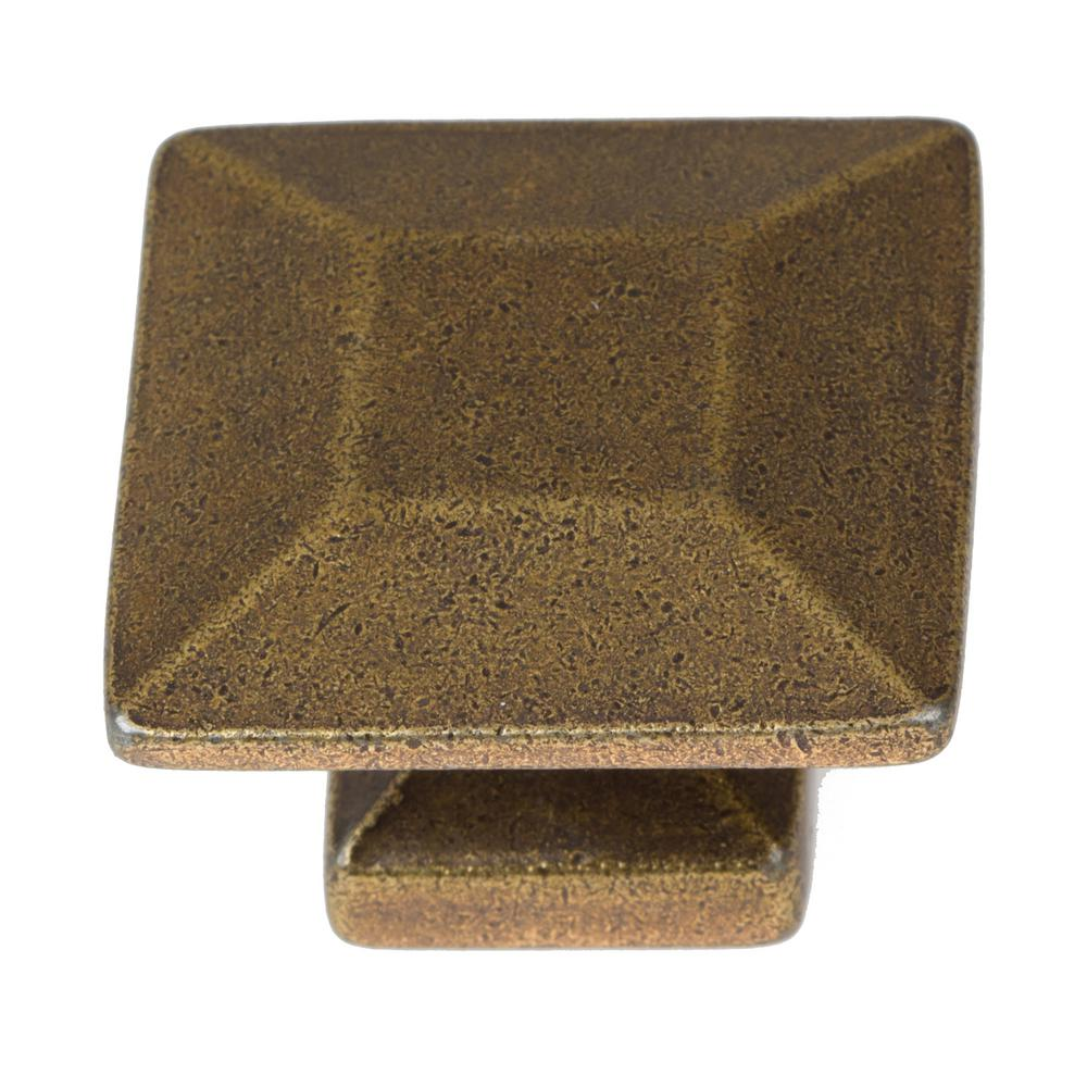 1-3/8 in. Antique Brass Square Cabinet Knob (10-Pack)