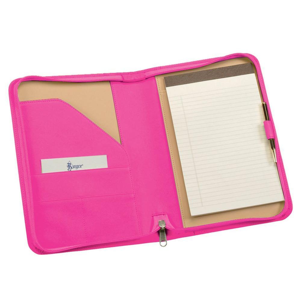Genuine Leather Zippered Compact Writing Portfolio Organizer, Wildberry