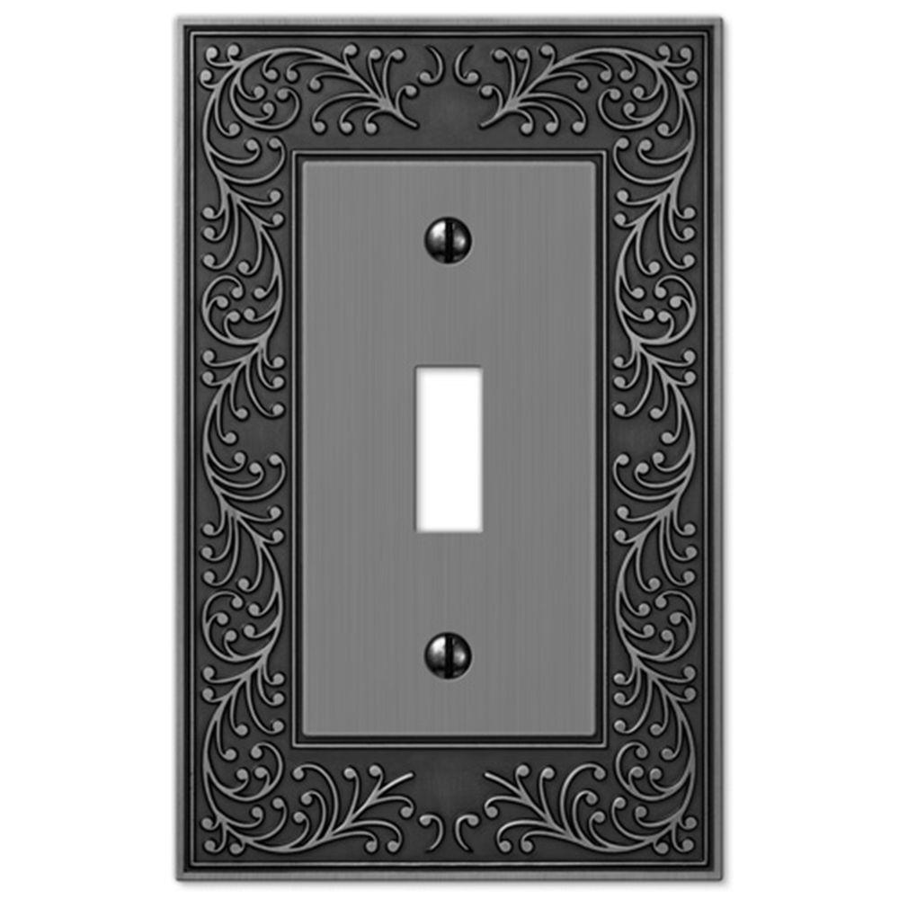 Amerelle English Garden 1 Toggle Wall Plate - Antique Nickel