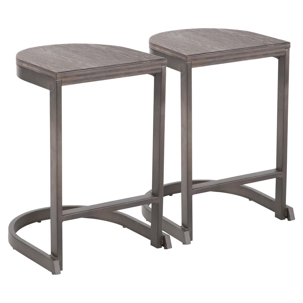 Lumisource industrial demi 24 in antique and espresso counter stool set of 2