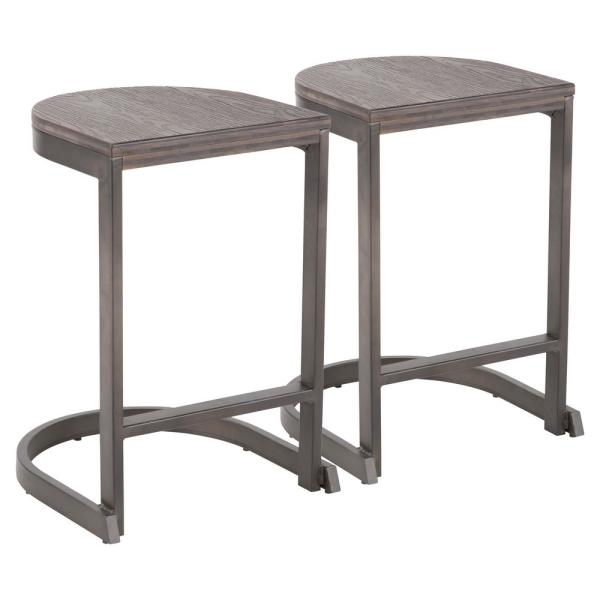 Industrial Demi 24 in. Antique and Espresso Counter Stool (Set of 2)
