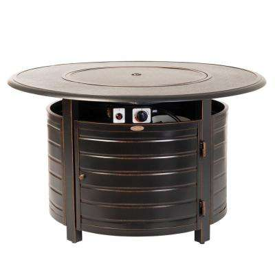 Finn 42 in. x 24 in. Round Aluminum Propane Fire Pit Table in Antique Bronze