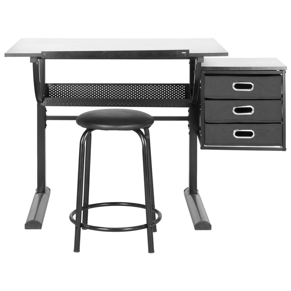Safavieh Abigail Distressed Black Desk With Drawers