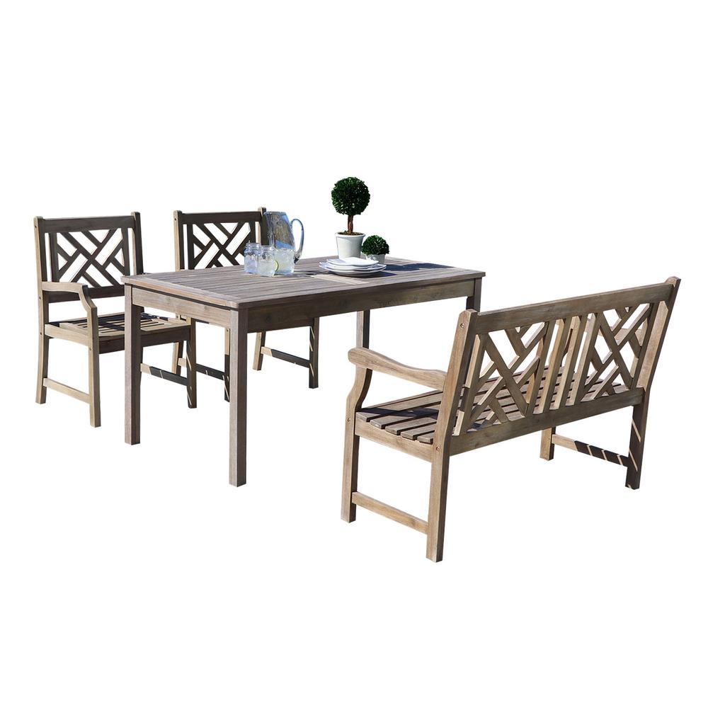 Renaissance 4-Piece Wood Rectangle Outdoor Dining Set