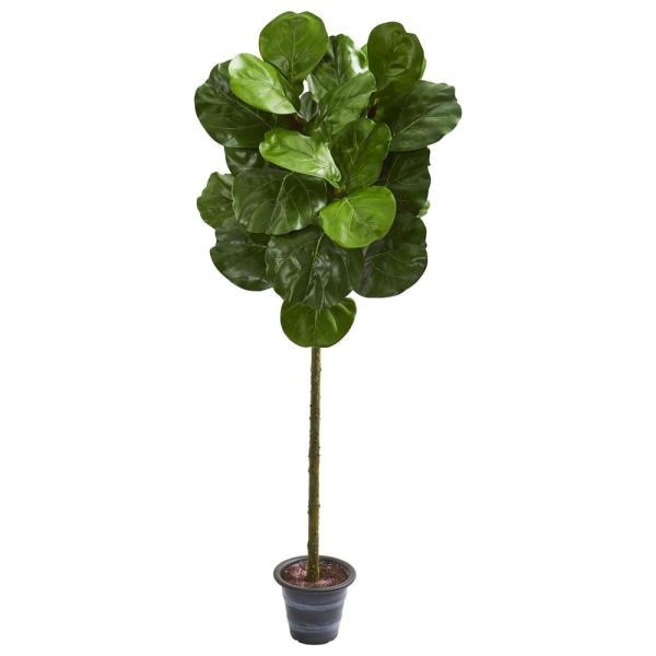 Nearly Natural Indoor 4-Ft. Fiddle Leaf Artificial Tree With Decorative Planter