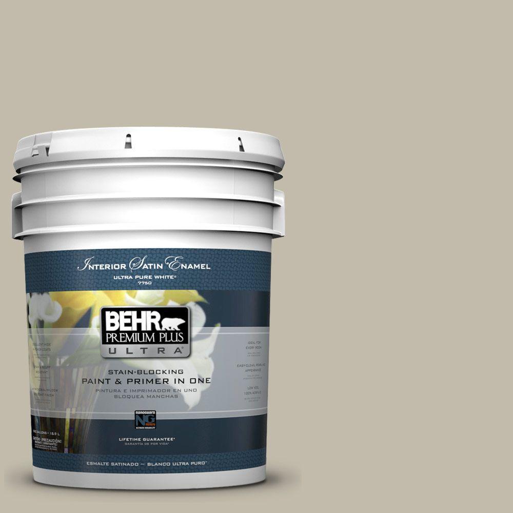 BEHR Premium Plus Ultra Home Decorators Collection 5-gal. #HDC-FL13-10 Wilderness Gray Satin Enamel Interior Paint