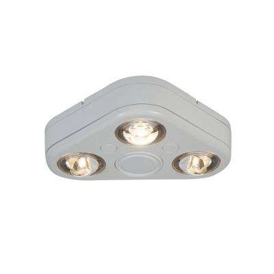 Revolve White Triple Head Outdoor Integrated LED Security Flood Light at 3500K Bright White, Switch Controlled
