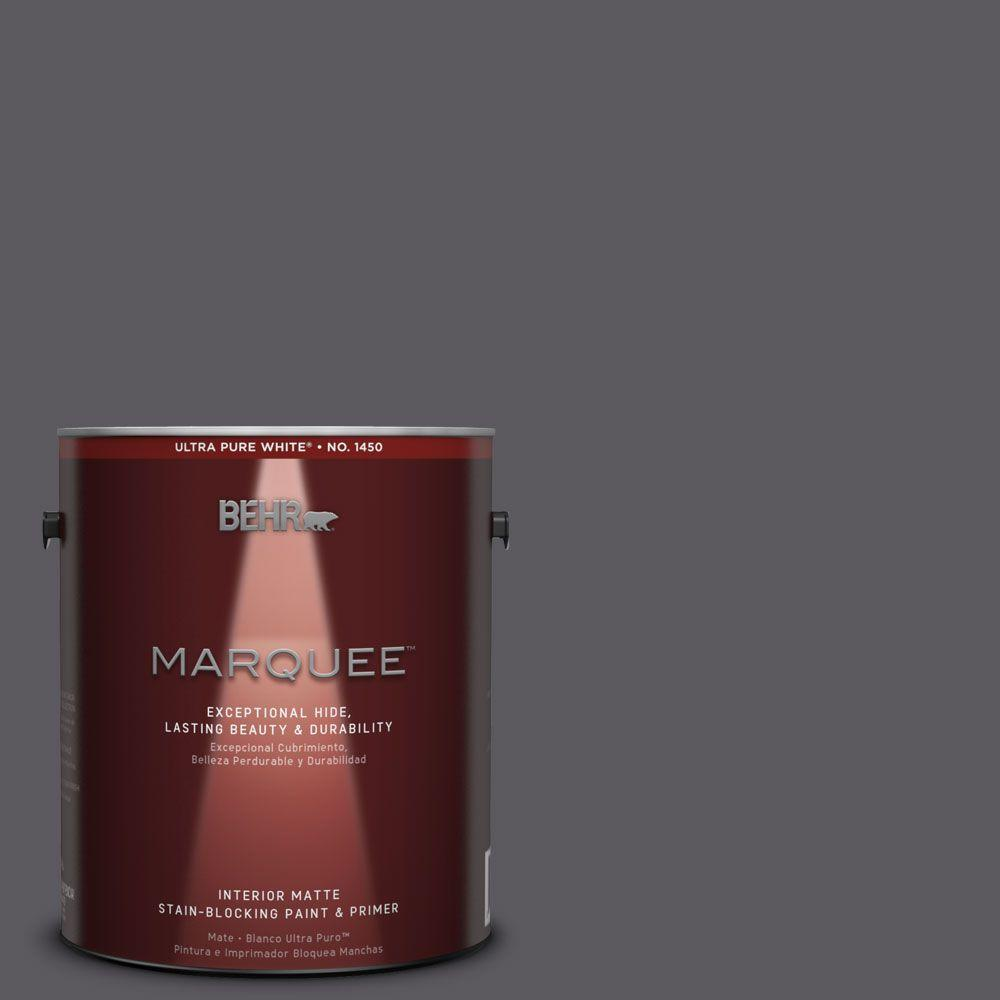 Behr Marquee 1 Gal Mq5 2 Dark Shadows One Coat Hide Matte Interior Paint 145301 The Home Depot
