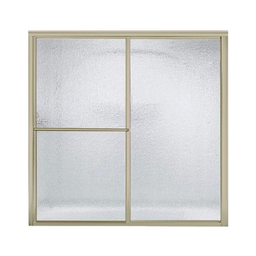 Deluxe 57-3/4 in. x 56-1/4 in. Framed Sliding Tub/Shower Door in Nickel with Handle