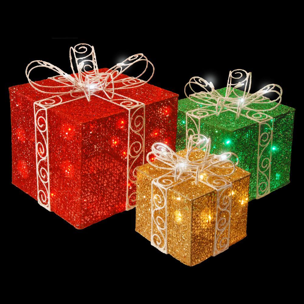 Pre-Lit Sisal Gift Box Assortment