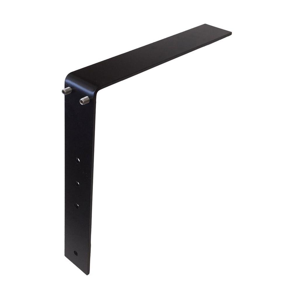 Low Profile Adjustable Bracket 12 in. Steel Countertop Support in Black
