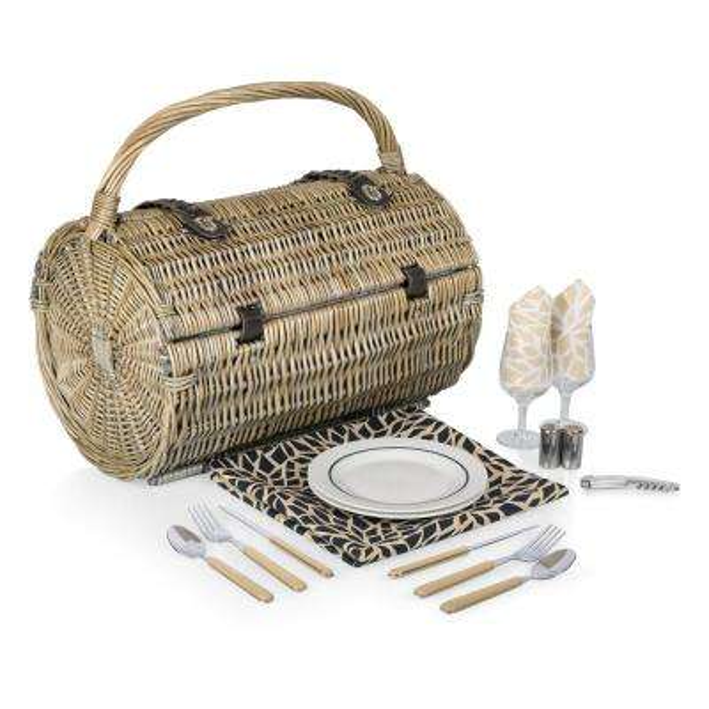 Barrel Natural Wood Picnic Basket
