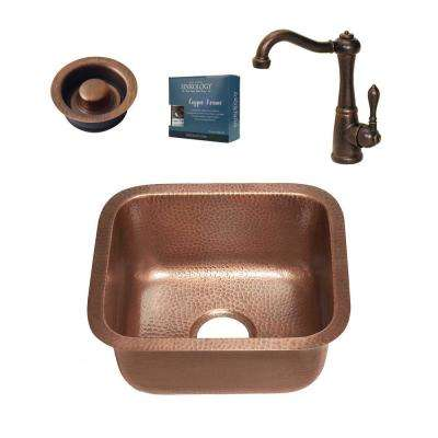 Sisley All-in-One Undermount 17 in. Single Bowl Copper Bar/Prep Kitchen Sink with Pfister Faucet and Disposal Drain