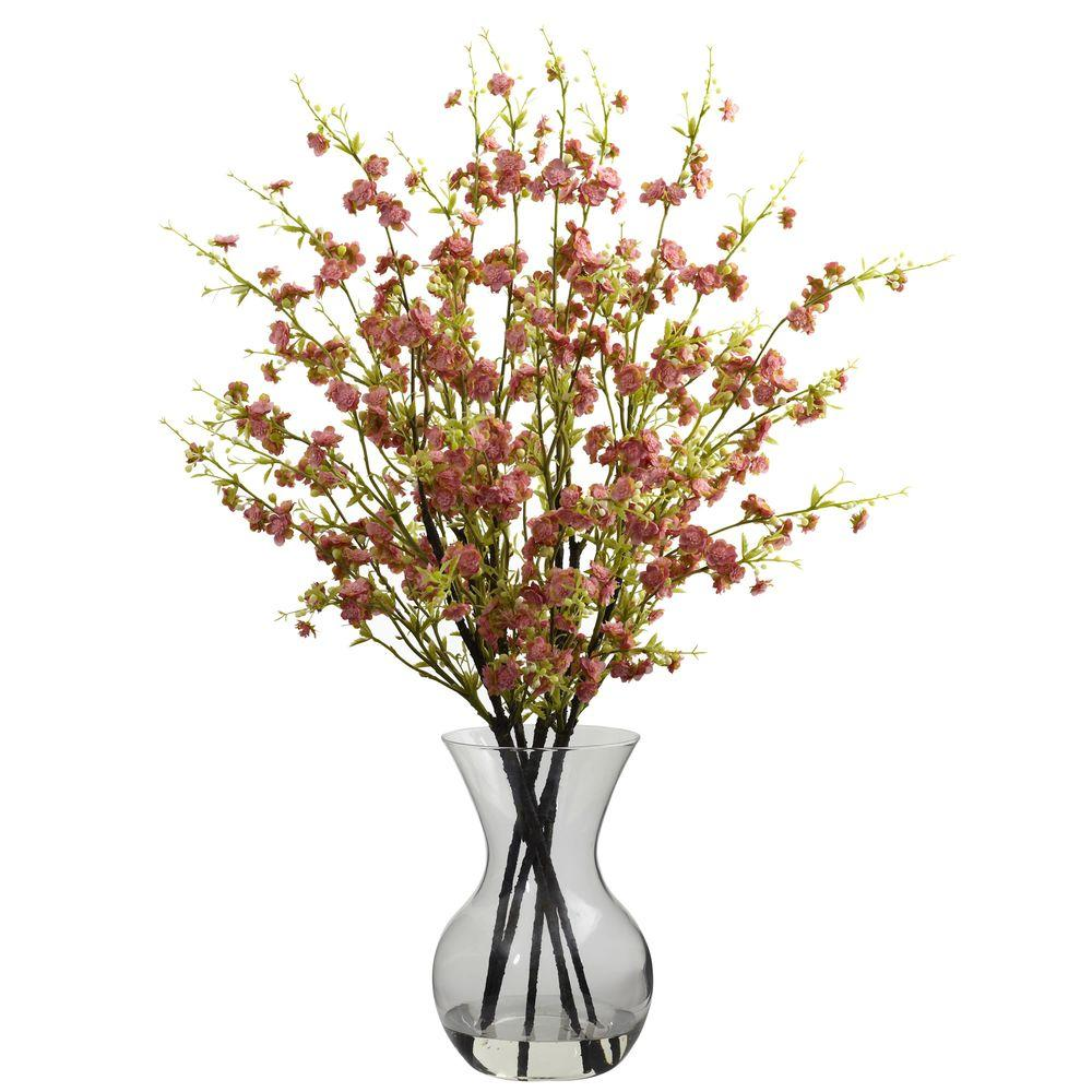 Nearly Natural Cherry Blossoms With Vase Arrangement In Pink 1315 Pk